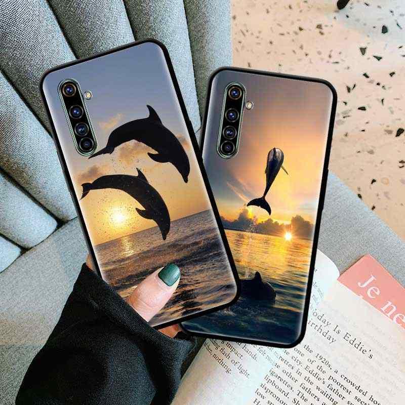 黒 tpu キャパため realme 6 6i 5 5i C3 xt X2 プロ X50 5 グラム narzo 10 10A ケース嚢ソフト電話シェル海の動物かわいいイルカ