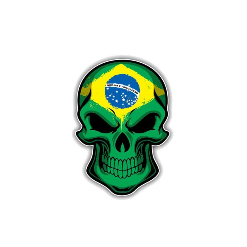 Car Sticker Creative Reflective Brazil Flag Skull Auto Motorcycles Exterior Accessories PVC Waterproof Sunscreen Decal,10cm*7cm