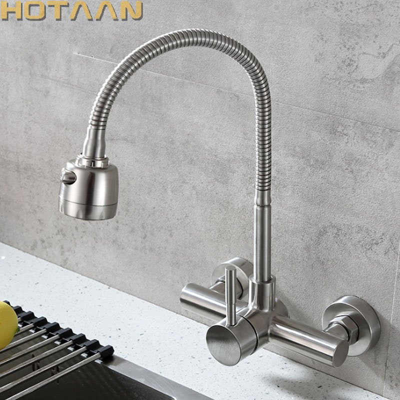 Wall Mounted Stream Sprayer Kitchen Faucet Single Handle Dual Holes SUS304 Stainless Steel Flexible Hose Kitchen Mixer Taps 6032