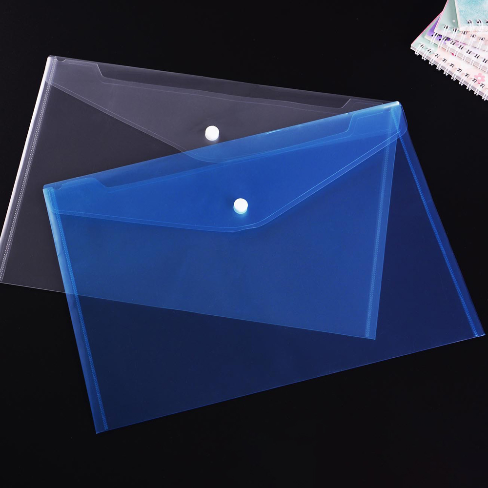 Transparent Document Folders Plastic Envelope Folders With Snap Button Closure Student Stationery School Office Supplies