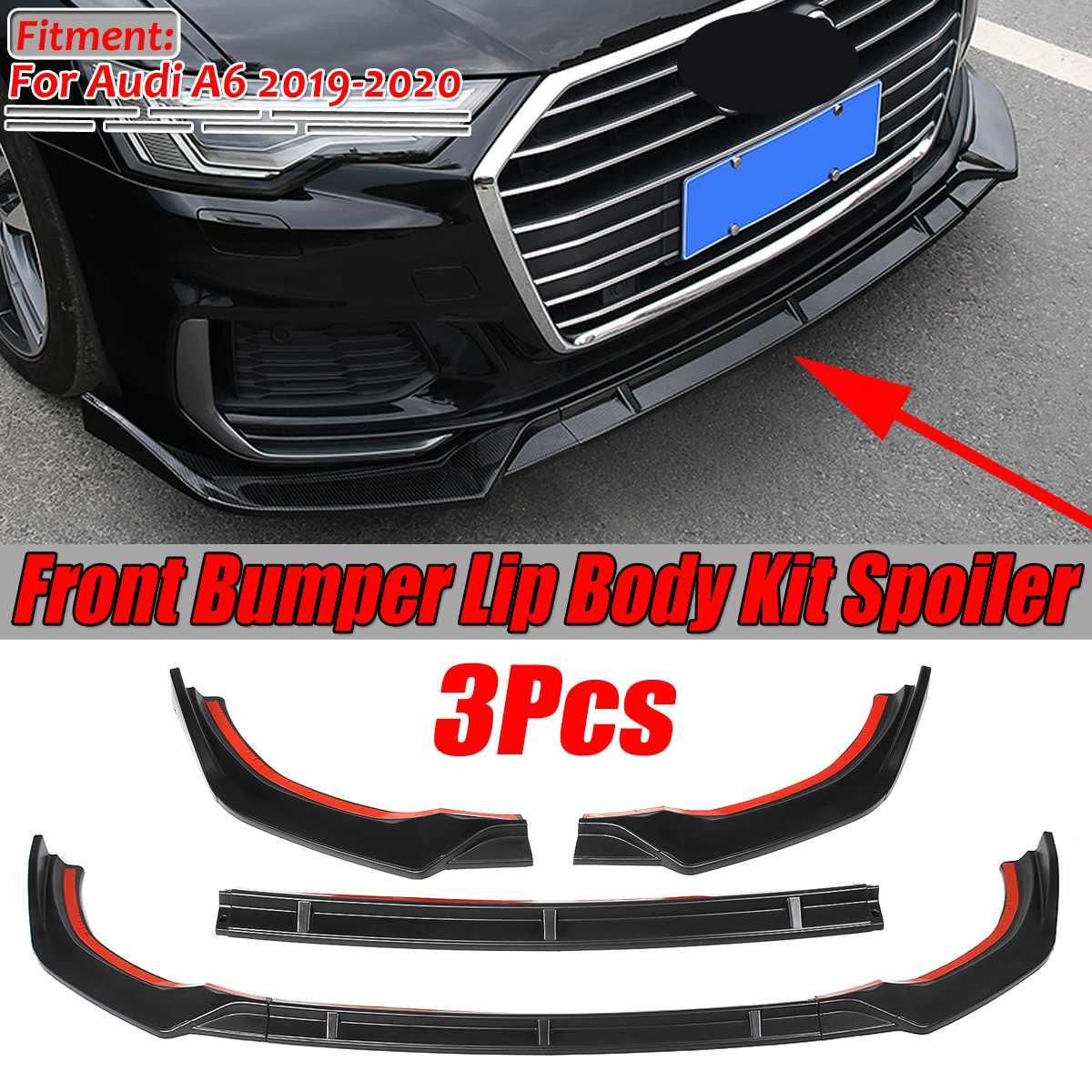 3Pcs For 2016-2018 Audi A6 Sport Carbon Fiber Front Bumper Lip Body Kit Spoiler