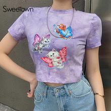 Sweetown 2021 lato z krótkim rękawem przycięte koszulki kobiety Cartoon wzór Vintage śliczne Kawaii ubrania Y2K estetyczne koszulki z nadrukami