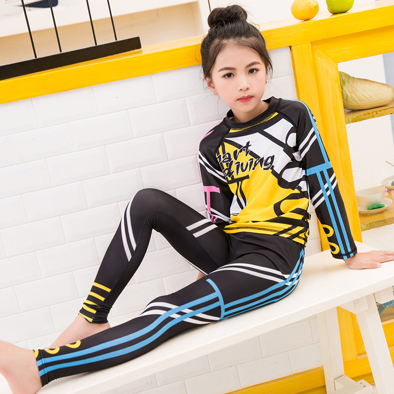 Korean-style KID'S Swimwear GIRL'S Split Type Big Boy Sun-resistant Long Sleeve Girls Diving Suit BOY'S Baby Swim Bathing Suit W