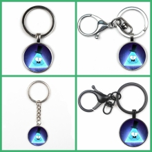 New Fashion Hot Gravity Waterfall Ghost City Glass Pendant Key Ring Pendant Key Ring Men Women Jewelry Key Chain Gift Souvenir ainuoshi 10k solid yellow gold pendant exquisite key pendant sona diamond women men lovers jewelry shining key separate pendant