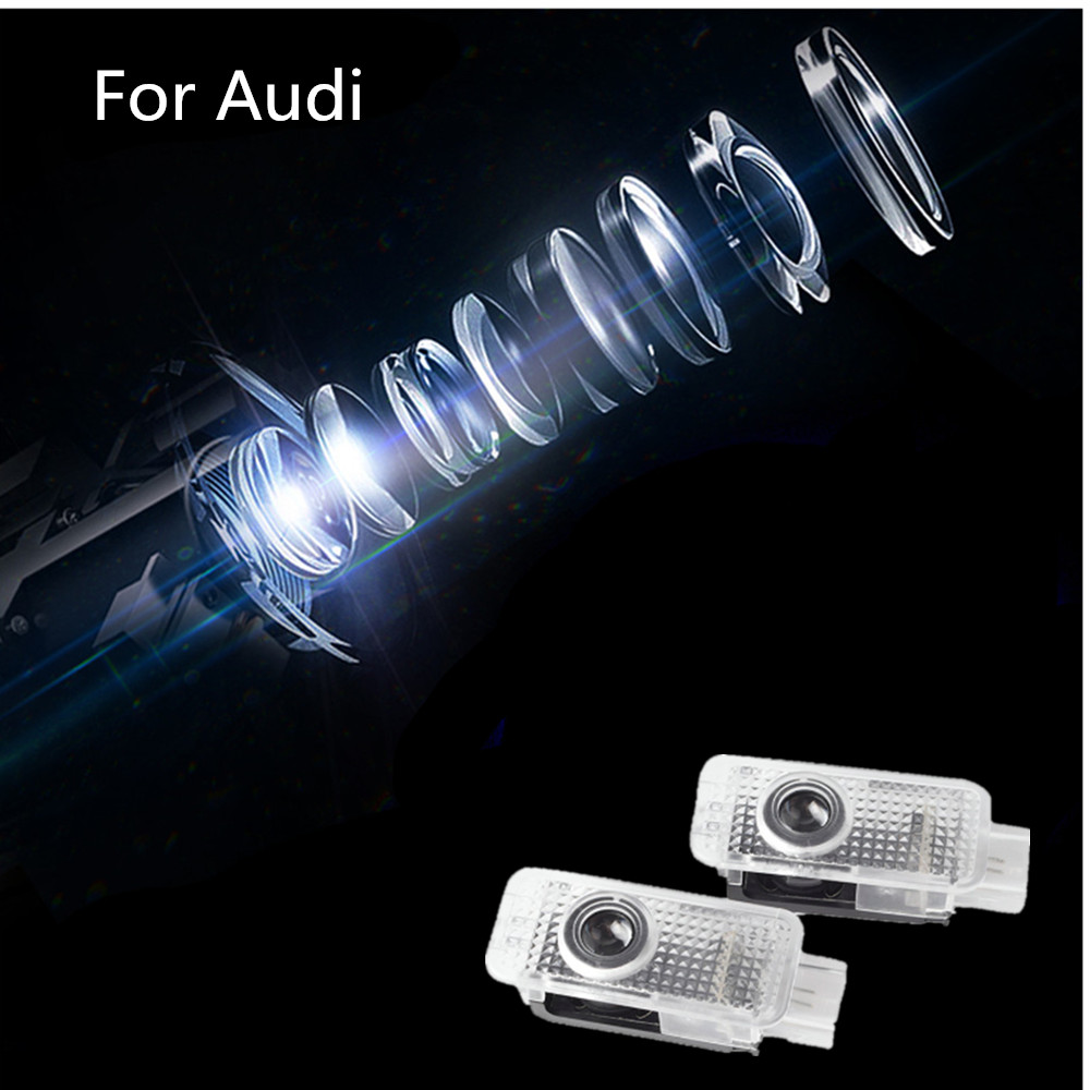 LED Car Door Logo Projector <font><b>Light</b></font> For <font><b>Audi</b></font> A4 B5 B6 B7 B8 B9 <font><b>A3</b></font> A6 C6 C7 A5 A7 A8 V8 8V 8L 8P Q3 Q5 Q7 S3 S5 TT RS RS3 RS5 Sline image