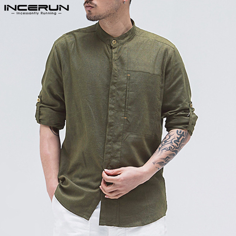 INCERUN Cotton Linen Casual Shirt Men Solid Color Button Stand Collar Chic 2020 Long Sleeve Streetwear Shirts Men Vintage Camisa