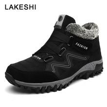 купить 2019 New Men Boots Hot Men Shoes Plush Warm Snow Boots Men Winter Footwear Outdoor Hiking Shoes Male Shoes Adult Men' Sneakers дешево