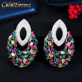 cwwzircons elegant designer green cubic zirconia long leaf drop indian 585 gold earring pendant necklace women jewelry sets t411 CWWZircons Unique Multi Color Cubic Zirconia Long Drop Big Luxury Party Earrings for Women Designer Bridal Wedding Jewelry CZ742