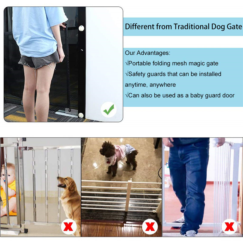 Clothing - 1PC Magic Dog Gate Ingenious Mesh Dog Fence For Indoor and Outdoor Safe Pet Dog gate Safety Enclosure Pet supplies