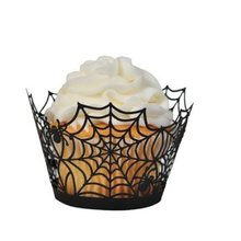 METABLE  Pack of 24 Halloween Party Spiderweb Laser Cut Paper Cupcake Wrappers Wraps Liners,Black