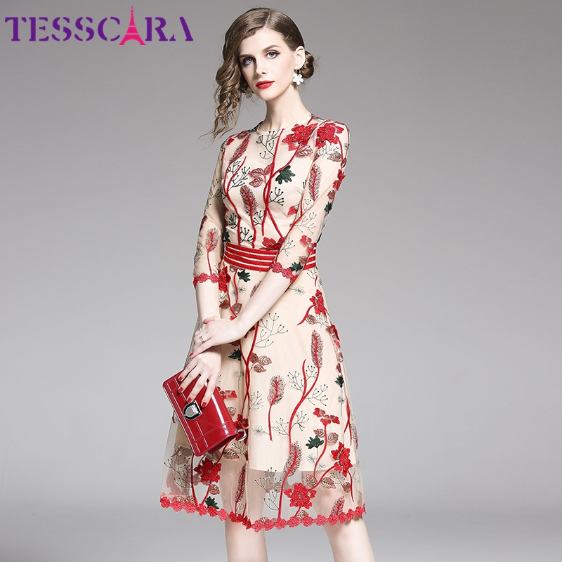 TESSCARA Women Luxury Embroidery Mesh Dress Festa Female Red Floral Wedding Party Robe High Quality Designer Cocktail Vestidos(China)
