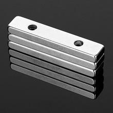 3 pçs forte cuboid bloco ímã 50x10x5mm buraco duplo 4.5mm escareado ímãs de neodímio de terra rara