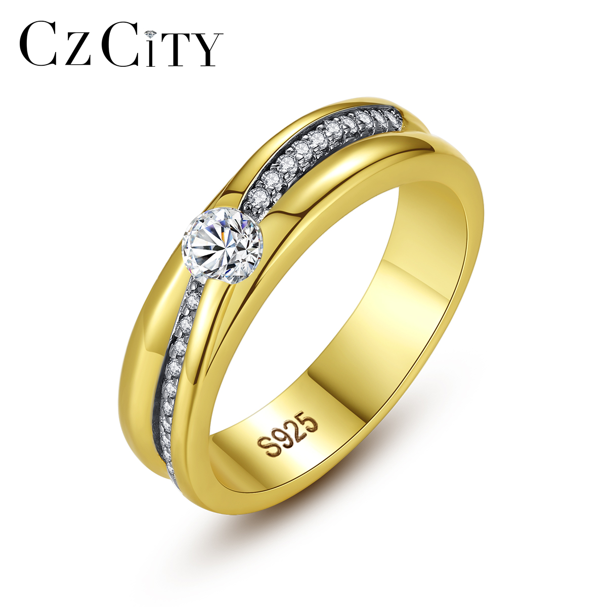 CZCITY Golden Wedding Bands Fine Jewelry Pure 925 Sterling Silver Rings for Women Wedding Engagement Aneis De Prata Lovers Gifts