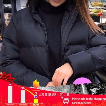 Hiver épaissir femmes court Parkas manteau solide col montant chaud Parka femme coton rembourré 2020 mode bouffante veste pour les femmes 1