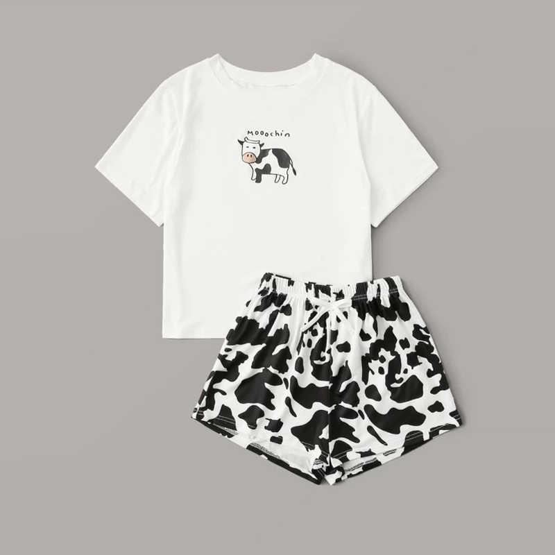 암소 편지 인쇄 나이트 가운 여성 여름 새 코튼 잠옷 세트 여성 2020 캐주얼 반소매 티셔츠와 반바지 홈 의류