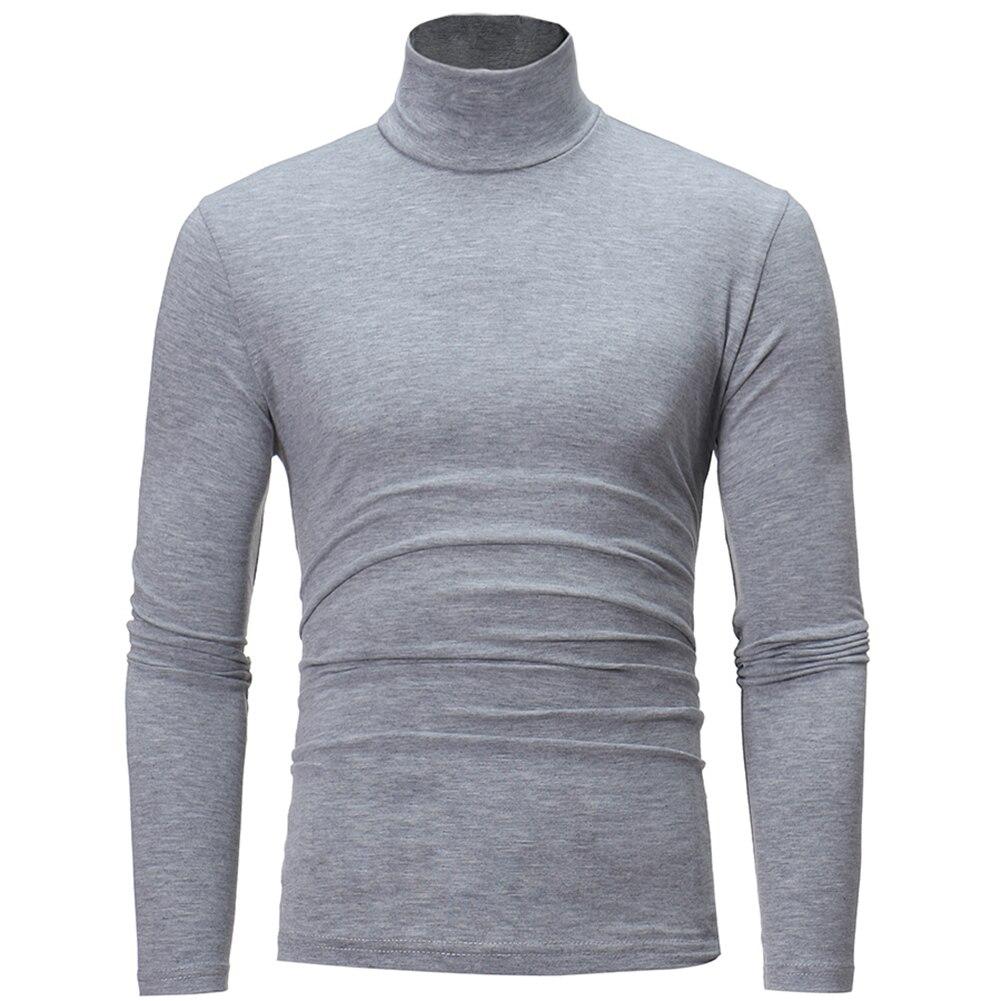 Men Fashion Solid Color Long Sleeve Turtle Neck Sweater Bottoming Top Long Sleeve Turtle Neck Sweater Bottoming Top  Sweater Top 2