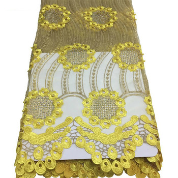 Water Soluble Sunflower Embroidered African Lace Fabric For Wedding Party Dress 5Yards Quality French Nigerian Cotton Lace