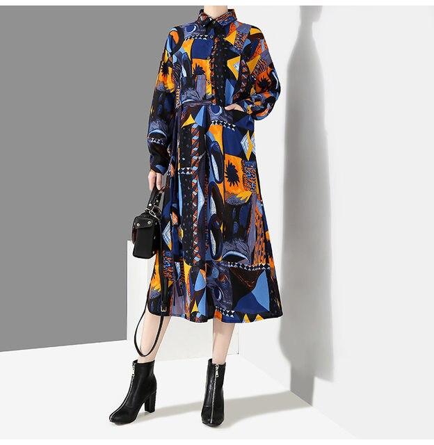 [EAM] 2019 New Autumn Winter Lapel Long Sleeve Blue Pattern Prited Loose Large Size Pocket Dress Women Fashion Tide JI485 24