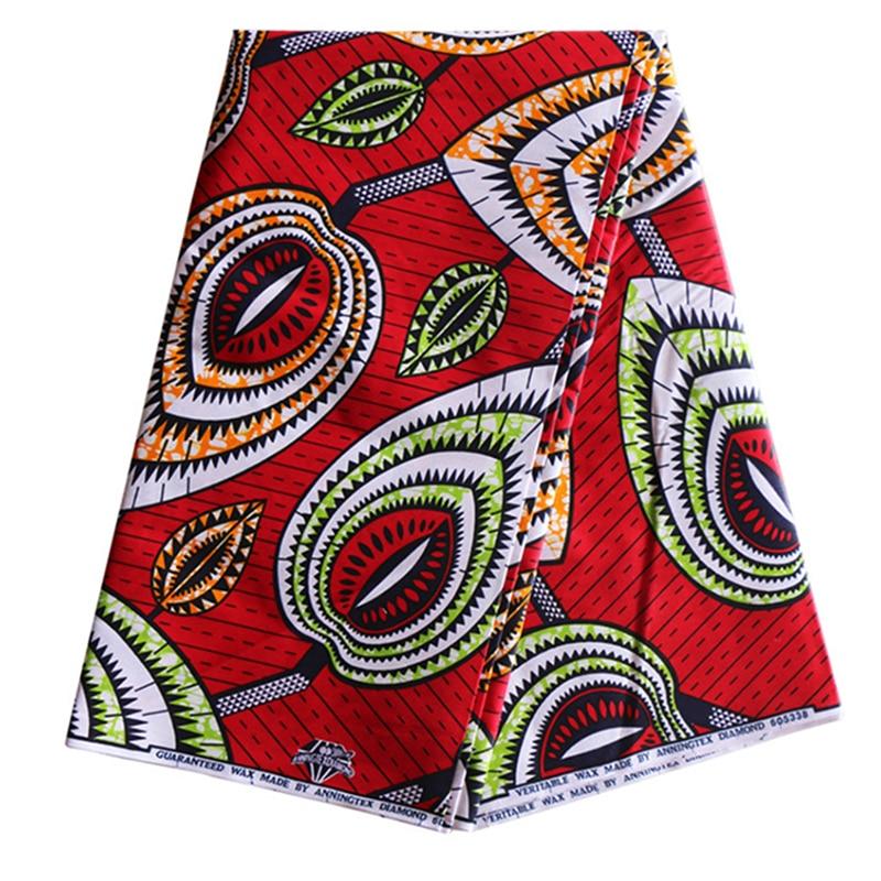 2019 Wax High Quality African Wax Print Fabric Guaranteed 100% Cotton Red Print Fabric 6Yardsset
