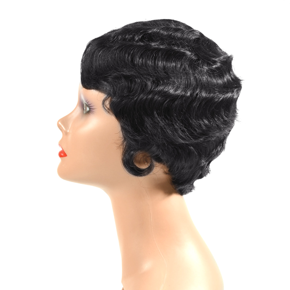 Saloncht Short Wavy Wig Peruvian Remy Human Hair Wigs For Black Women Brown Black Natural Wig With Bangs Free Shipping