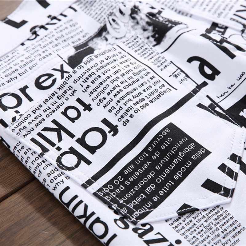 Zomer Nieuwe Casual Gedrukt Brief Stretch Jeans Mannen Hip Hop Streetwear Fashions Slim Fit Witte Denim Broek Mannelijke Jogger Jeans