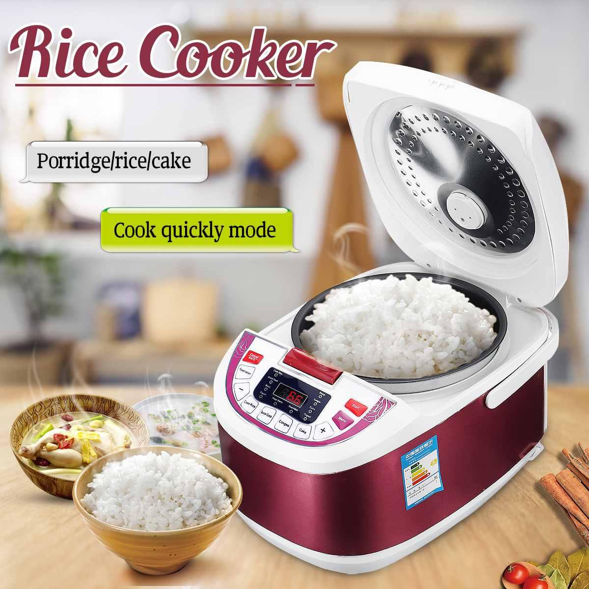 5L cuiseur à riz multifonctionnel LCD Porridge gâteau fabricant cuiseur vapeur électrique plus chaud cuisine cuisson casserole en alliage d'aluminium + ABS