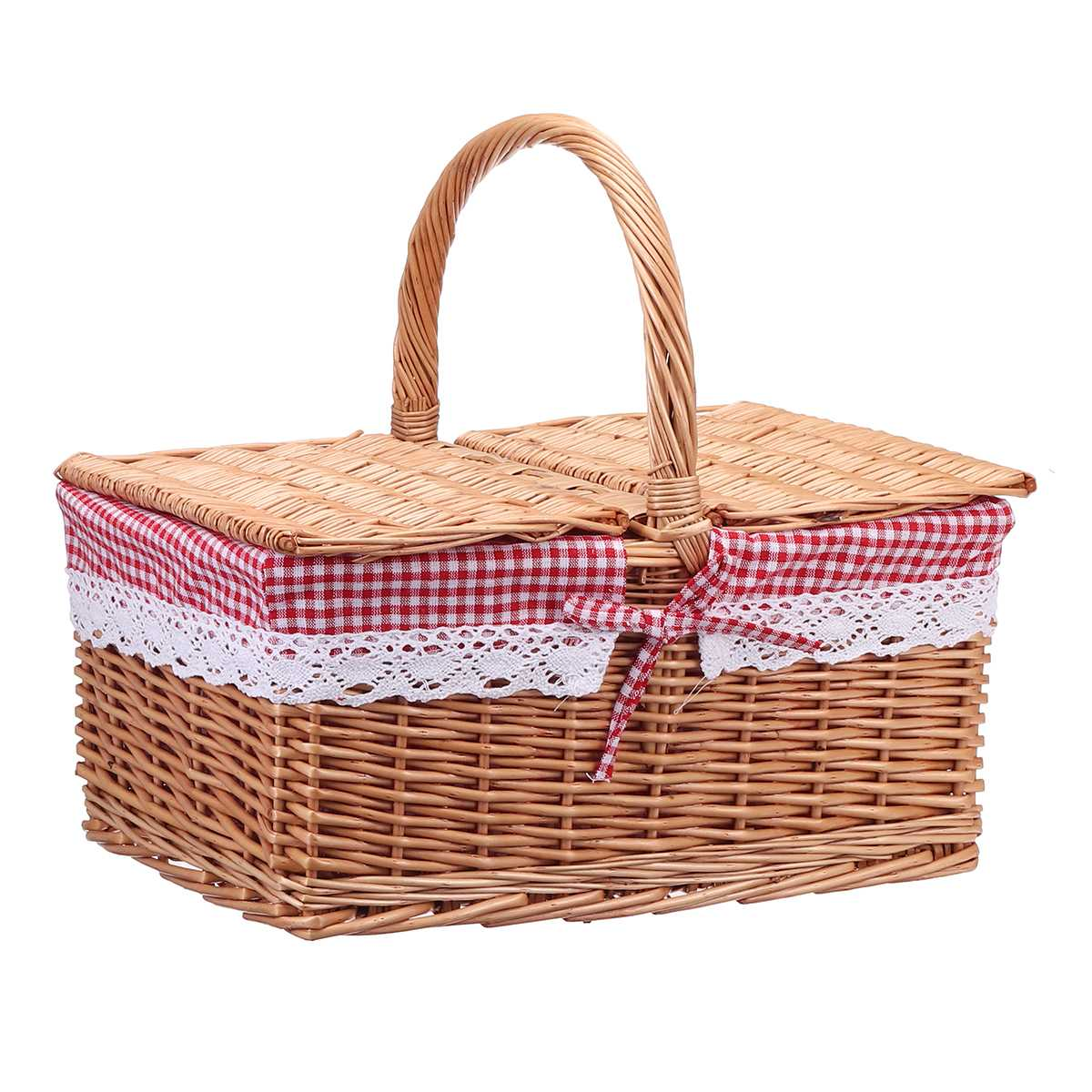 Square Wicker Willow Picnic Basket Hamper Shopping Basket Bag with Lid and Floral Liner for Outdoor Camping Picnic 40*30*20cm|Picnic Bags|   - AliExpress