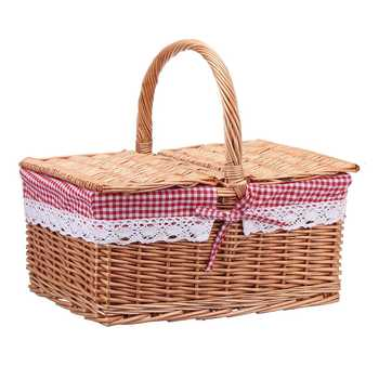 Square Wicker Willow Picnic Basket Hamper Shopping Basket Bag with Lid and Floral Liner for Outdoor Camping Picnic 40*30*20cm