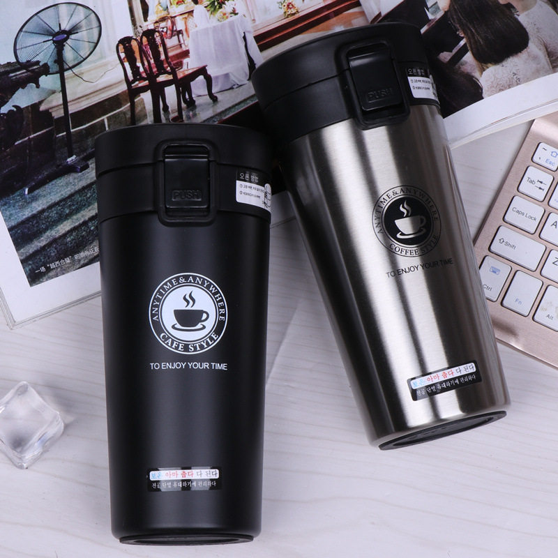 380ml Portable Travel Coffee Mug Vacuum Flask Thermo Water Bottle Car Mug Thermocup Stainless Steel Tumbler Cup ^^
