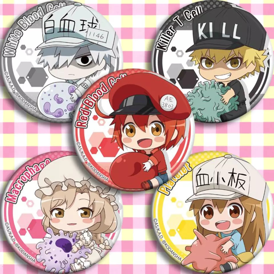 Japan Anime Cells At Work Cosplay Badge Cartoon Brooch Pins Collection Backpacks Badges For Bags Button Gifts