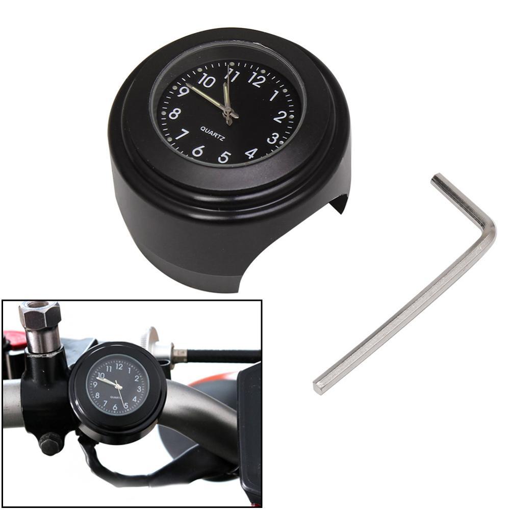 7 8inch Motorcycle Bike Motorbike Waterproof Dial Mount Watch Handlebar Clock New Black
