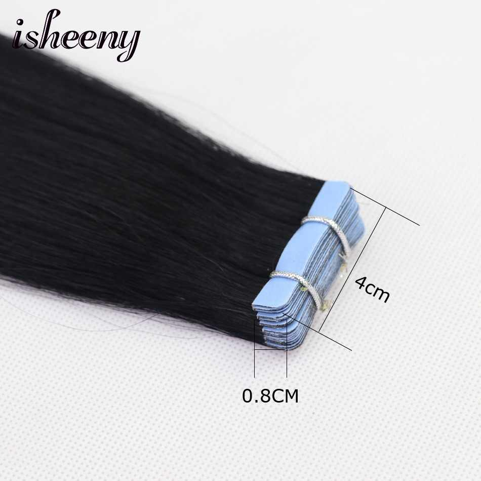 """Isheeny 12"""" Remy Tape In Human Hair Extensions 20pcs Tape Extension Straight European Hair Bundle Skin Weft Short Hair"""