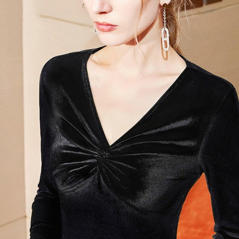 Черные бархатные топы для латинских танцев, женская осенняя одежда, платье с длинным рукавом, женская новая одежда для танго, костюмы для бальных танцев, сценическая рубашка DB58 - Цвет: Black