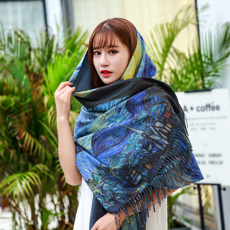 2020 Designer New Women Winter Cashmere Scarf Shawl Digital Painted Shawl Van Gogh Oil Painting Pashmina Ladies Blanket Scarf
