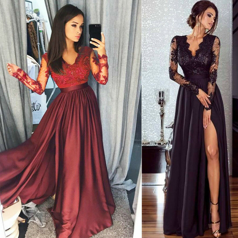 Lace Mesh Christmas Xmas Dress Elegant Women Long Sleeve V Neck Dress Party Formal High Waist Lace Maxi Dresses