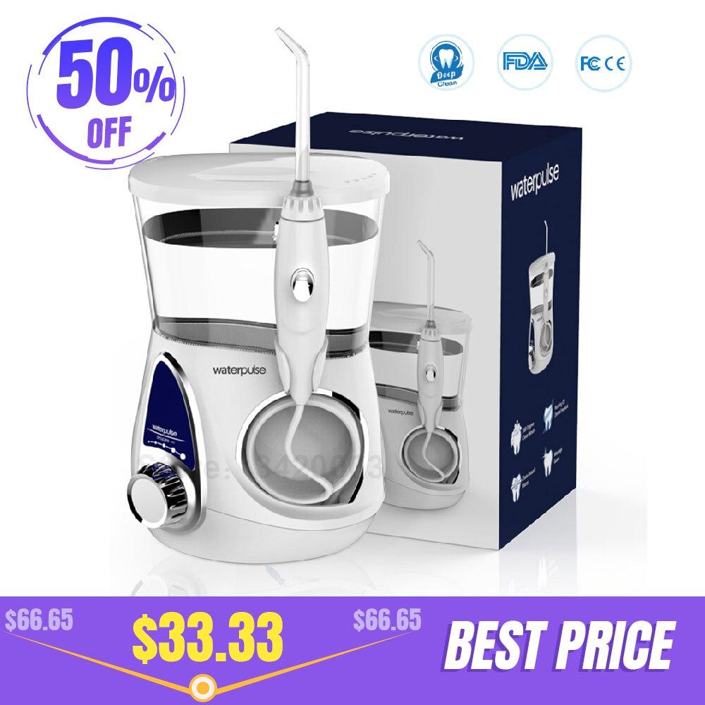 Waterpulse V600 Flosser Dental Flosser Água Irrigador Oral Com Bicos 5 Atendimento Odontológico escova de Dentes Higiene Oral 700ML Capcity Mais Limpo