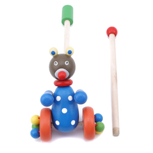 New Cartoon Animals Lovely Wood Puzzle Trolley Cart Toys Kids Baby Learning to W