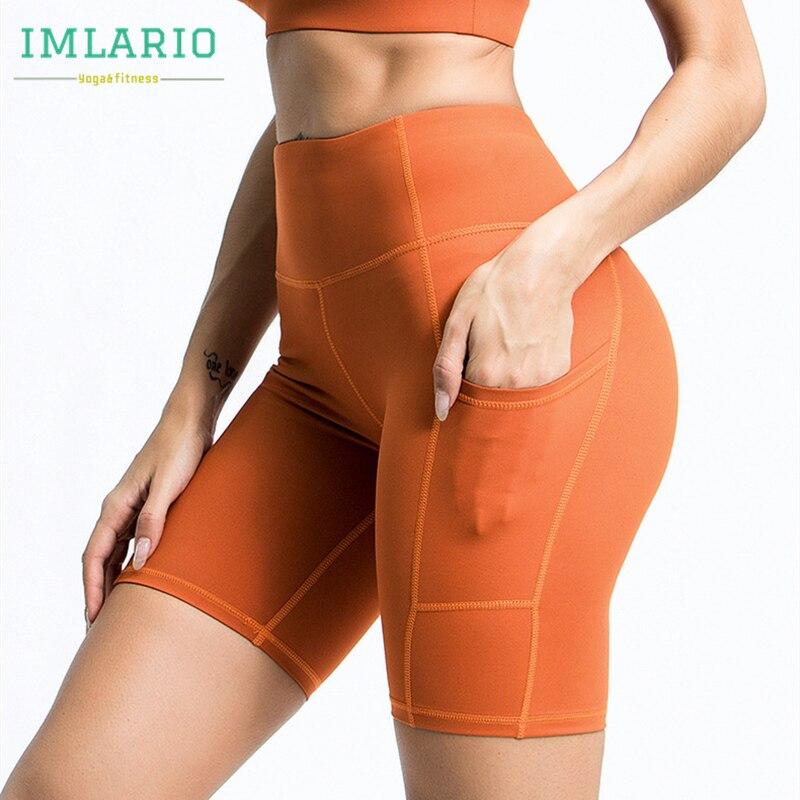 Imlario clássico laranja bicicleta shorts com bolsos feminino simples ginásio fitness yoga workout shorts de cintura alta esportes atlético wear