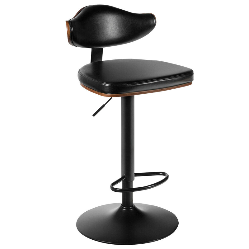 Walnut Bentwood Barstool Height Adjustable Upholstered Swivel Stool HW63912