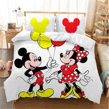 Disney Home textile Mickey Minnie Cartoon 3d Bedding Set Lovely Couple Twin King Single Double Size Child Duvet Cover Christmas