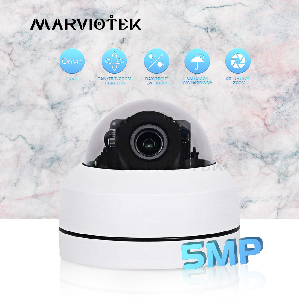 Mini Dome Camera HD 5MP 4X Optical Zoom Night Vision Mini PTZ Camera IP 1080P Dome IP Camera Outdoor Waterproof ONVIF Ipcam Poe