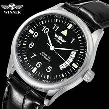 זוכה הרשמי Mens שעון למעלה מותג אוטומטי מכאני שחור רצועת עור לוח שנה אופנה קלאסי עסקי שעוני יד מקרית