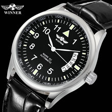 WINNER Official Casual Mens Watches Top Brand Luxury Automatic Mechanical Watch Men Leather Band Calendar Fashion Wristwatch