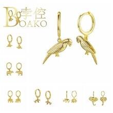 925 Sterling Silver Hoop Earrings For Women Drop Animal Dinosaur Polar Bear Circle Earring Hoops Round Earings Jewelry Pendiente