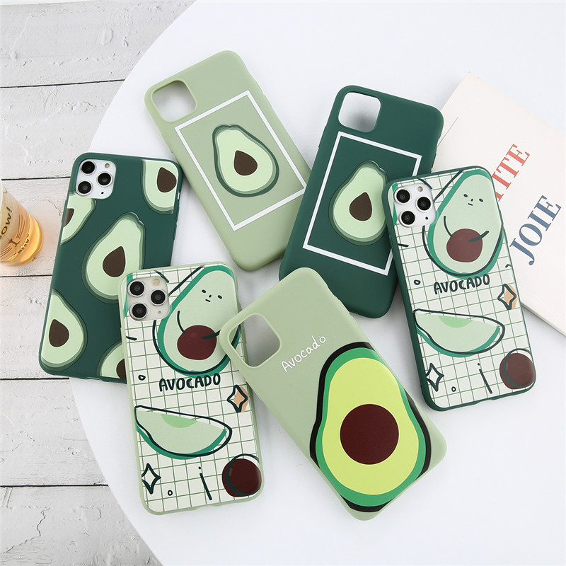 Ottwn Cute Avocado Phone Case For iPhone 11 Pro Max Xs Max XR X Soft Silicone TPU Beautiful Back Cover For iPhone 5 6 6s 78 Plus