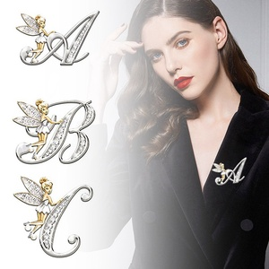 Berbeny Metal Crystal Brooch Pin For Women Girls 26 Letters Flower Fairy Brooches Lovely Fairy Wing Brooch Pins Jewelry Gift