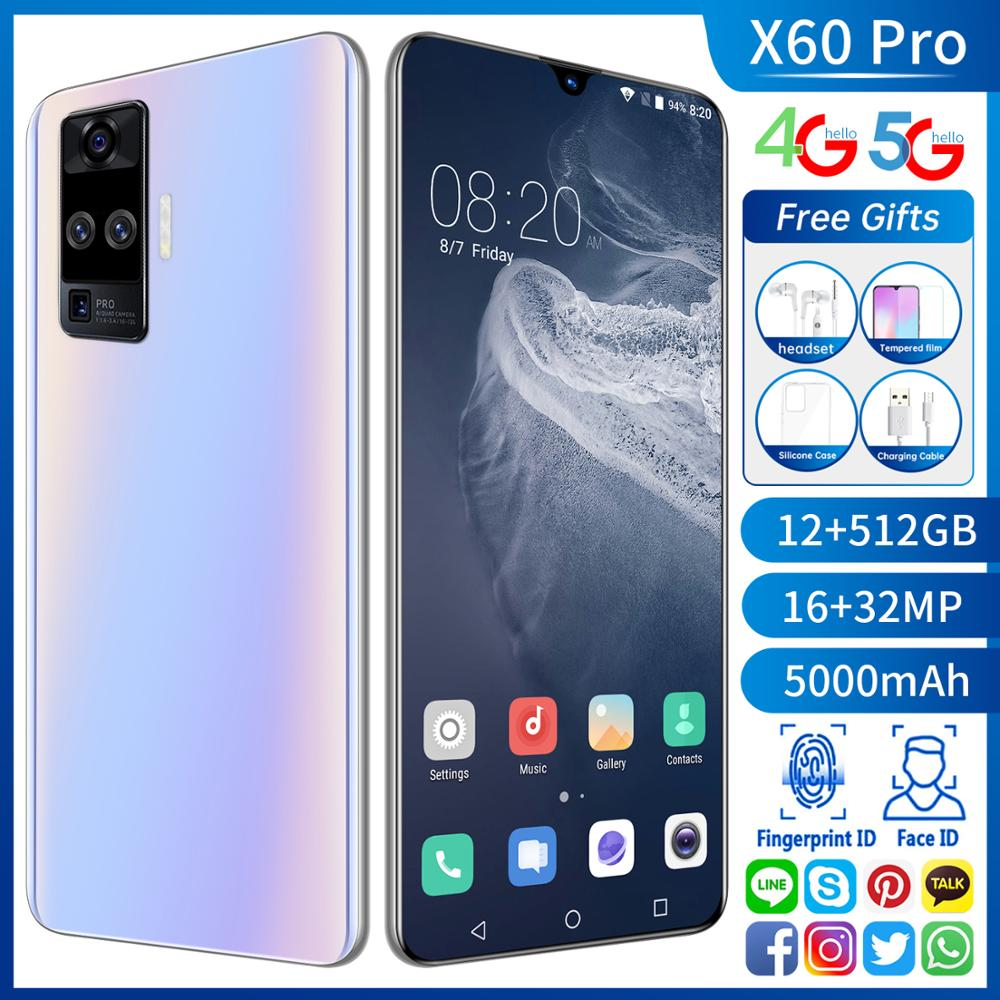 Global Version 5G X60 Pro 6.6inch Smartphone 12+512GB Android 10.0 5000mAh Cellphone 32MP Snapdragon 865 Quad Camera Mobilephone