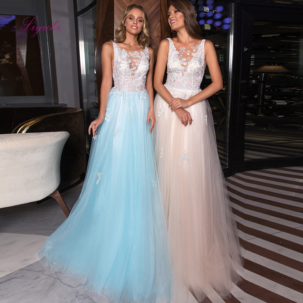 Liyuke A-line   Evening     Dress   Scoop Neck Lace Appliques Sequined Candy Color Backless Tulle Elegant   Evening   Gown Customized