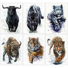 HUACAN peinture Diamant 5d   Perceuse complète, carré Animal, Artisanat Diamant, mosaïque tigre, décoration de maison