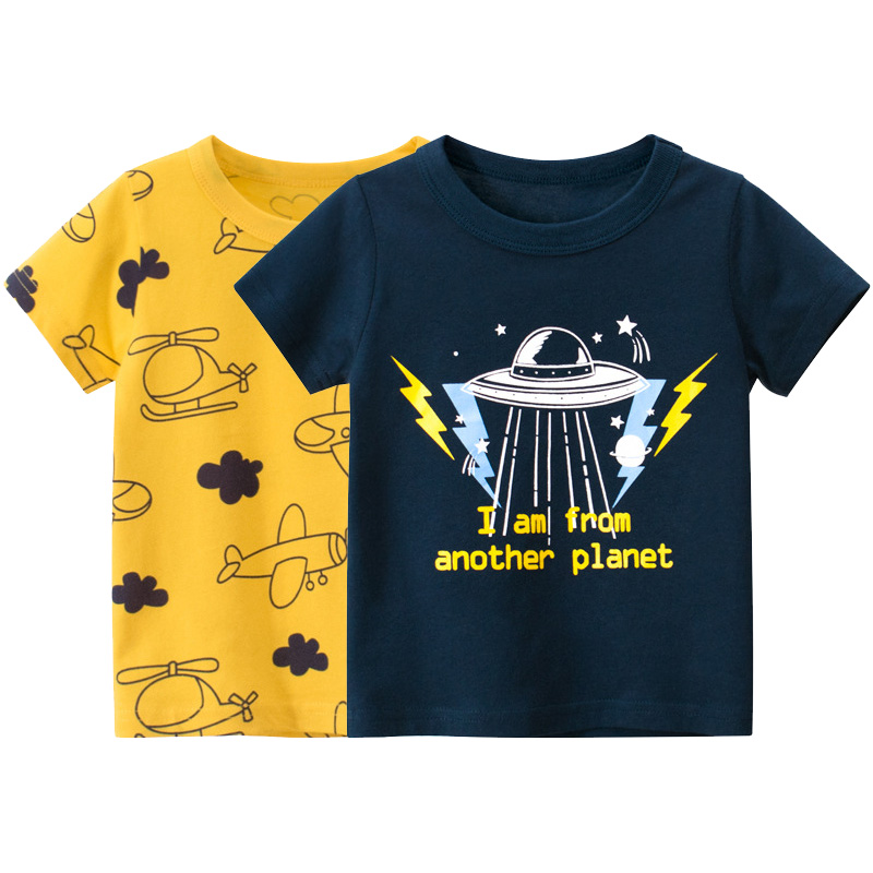 2021 Summer T-shirt for Boys Space Airplane Print T Shirt Kids Tops Tees Short Sleeves Cartoon Baby Clothes 2-10 Years Dropship